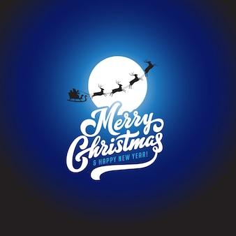 Веселого рождества и счастливого нового года текст каллиграфические надписи вектор шаблон поздравительной открытки.