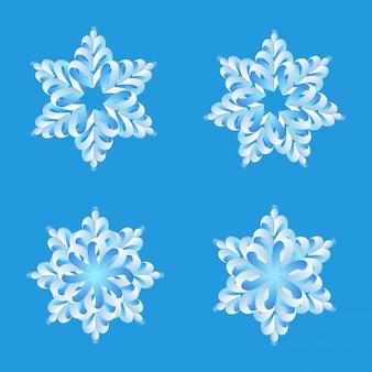 雪折り紙ベクトルデザインセット。