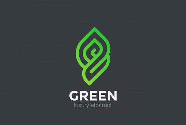Эко био зеленый абстрактный логотип значок. линейный стиль