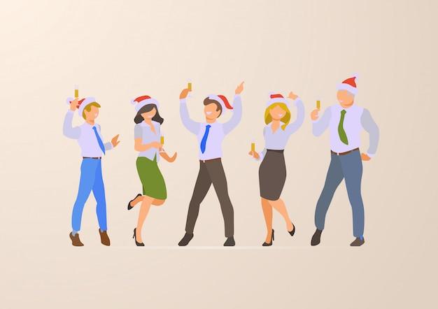 Сотрудники на корпоративной рождественской вечеринке плоские векторные иллюстрации.