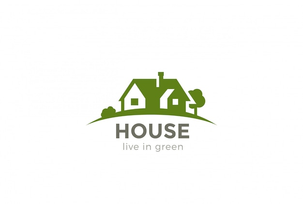 Дом логотип значок. отрицательный космический стиль.
