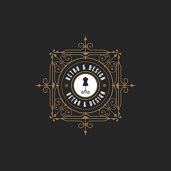 Старинный ярлык логотипа значок. ретро классический стиль