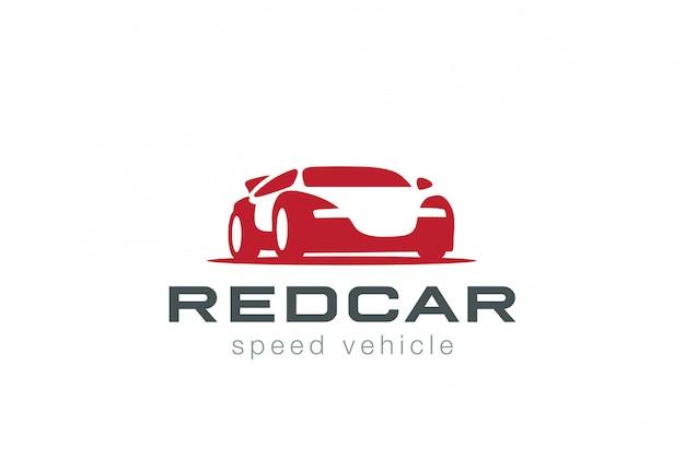 赤いスポーツカーのロゴのベクターアイコン。ネガティブスペーススタイル