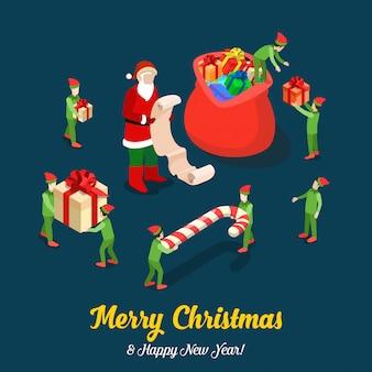 エルフはサンタクロースがバッグをプレゼントで満たすのを手伝います。メリークリスマス等尺性ベクトルイラスト。