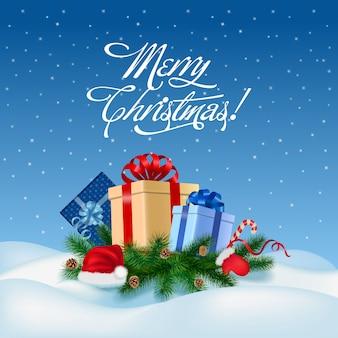 メリークリスマスと幸せな新年のグリーティングカードベクトルイラスト。