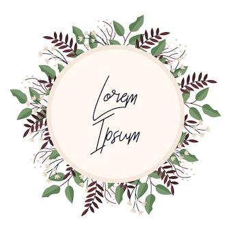夏の野生の花の花輪。花カードまたは招待状テンプレート。