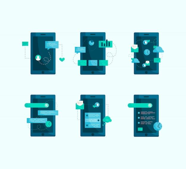 Социальная иллюстрация современного мобильного телефона