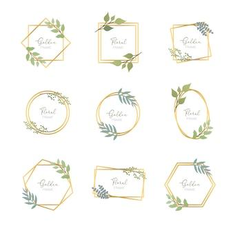 Золотые рамки с листьями
