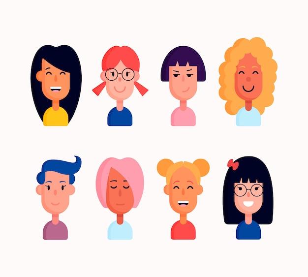 女の子または女性のキャラクターセット