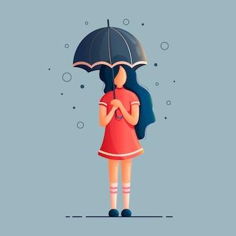 雨の下で傘を持つ少女のイラスト