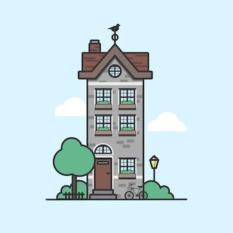 Небольшой дом, пригородный одноэтажный дом с газоном, деревьями и велосипедом