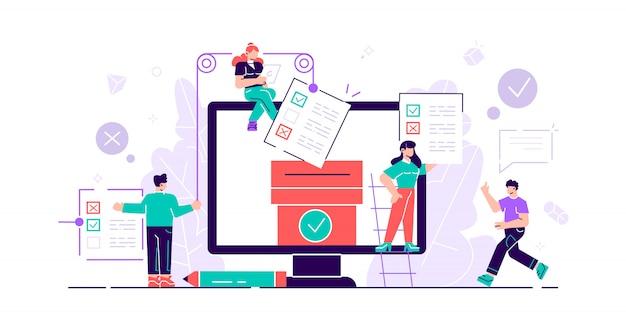 Онлайн голосование мини людей с экрана компьютера, ящик для голосования и избирателей, принимающих решения.
