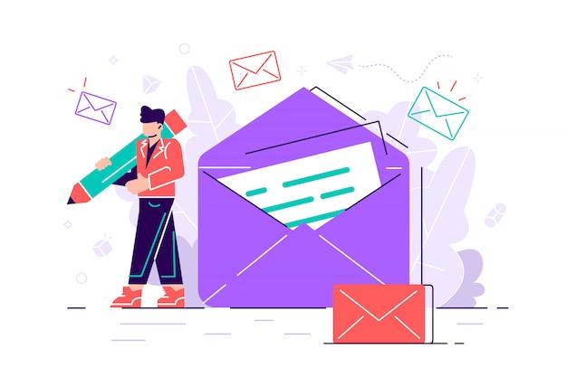 Женщина держит почту. болтаем. бизнес иллюстрация. рабочий процесс