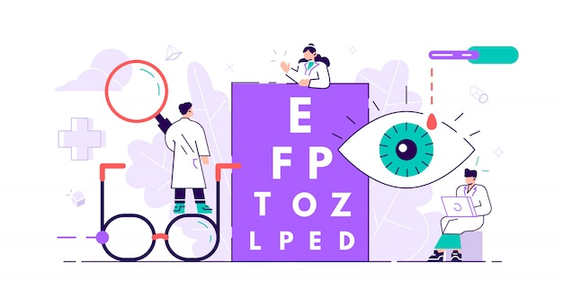 眼科のコンセプト。小さな目の健康。抽象レンズビュー検査検診