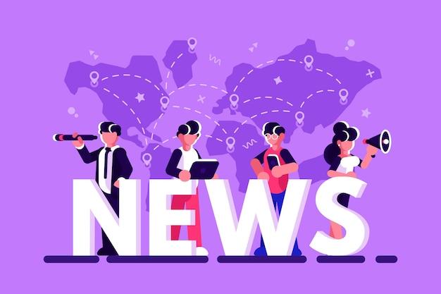 オンライン速報ニュース概念ベクトルイラスト。ビジネスマン、メガホンを持つビジネスウーマン、望遠鏡は大きな文字の近くに立って、ニュースを読むために自分のスマートフォンとラップトップを使用しています。平らな
