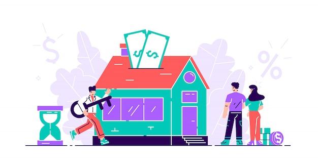 Концепция ипотеки. купить недвижимость и оплатить кредит