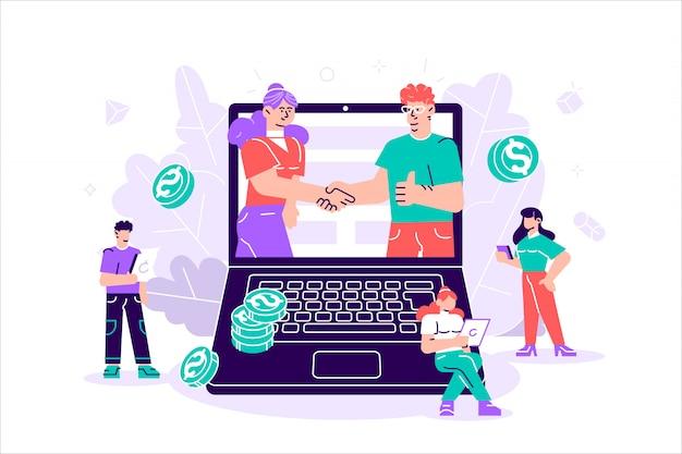 Деловые партнеры пожимают друг другу руки в большом ноутбуке