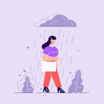 うつ病の女性。雨の中に立っている悲しいキャラクター。どんよりした天気