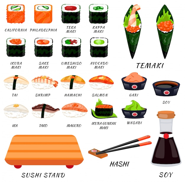 Суши роллы пищевые японские. азиатские суши суши-бар, ресторан, аксессуары. современный плоский мультфильм векторные иллюстрации на белом. калифорния, филадельфия, маки, нигири, темаки, урамаки. суши и роллы палка, соя