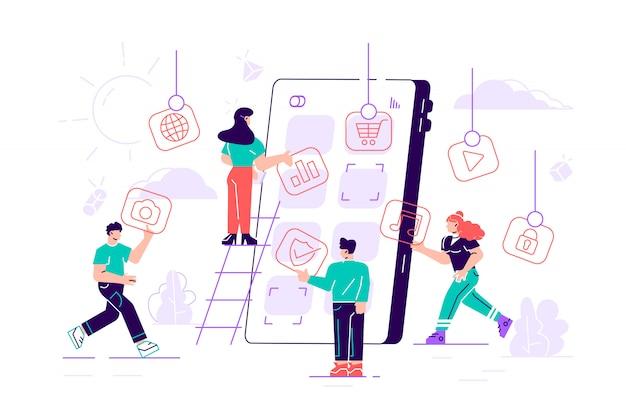 巨大なスマートフォンの画面にアプリのアイコンを置くビジネス人々の創造的なチーム。設計者は、携帯電話用のアプリケーション、忙しい作業プロセスを開発します。漫画フラットイラスト