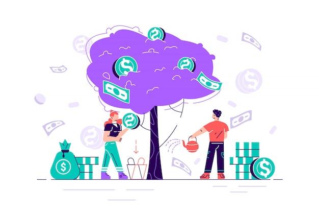 事業投資利益フラットイラスト。収入と収入の比喩。金のなる木から現金を選ぶビジネスマンやビジネスウーマンの文字。投資家の戦略、資金調達のコンセプトフラット