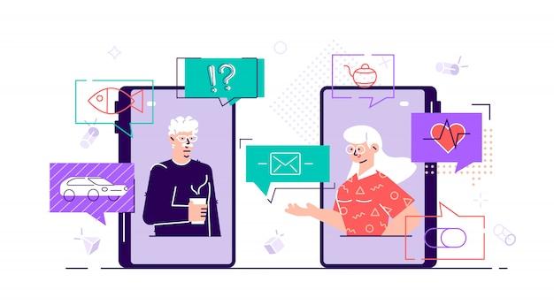 スマートフォンのビデオ通話を使用して古い高齢者家族カップル男性女性コミュニケーション。ソーシャルネットワークのトピックについて話したり、チャットしたり、メッセージを送ったり、おしゃべりしたりする高齢者。フラットスタイルキャライラスト