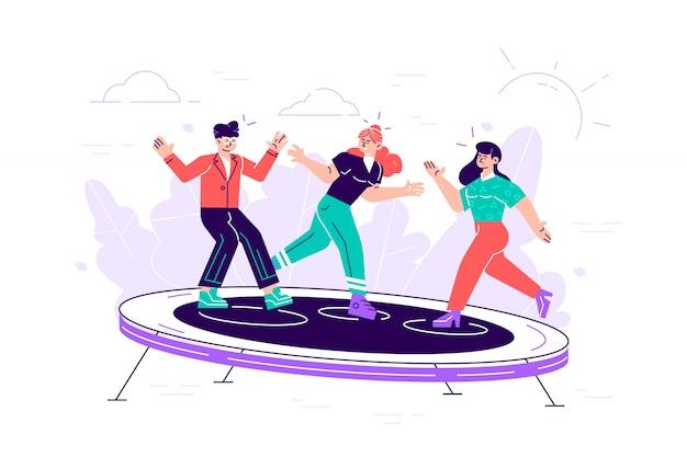 Молодые люди с удовольствием прыгают и подпрыгивают. счастливые подростки прыгают на батуте, веселятся друзья. мультфильм плоская иллюстрация