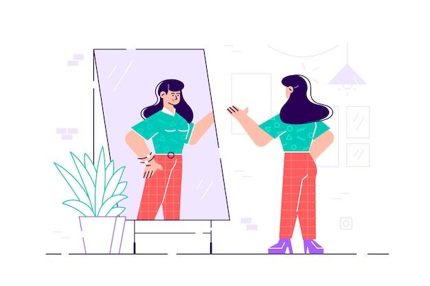 立っていると鏡で見ている女性。フラットスタイルのイラスト。鏡の前に立って、反射を見て若い長髪の女性。美しい女の子が服を着せます。女性の現代漫画