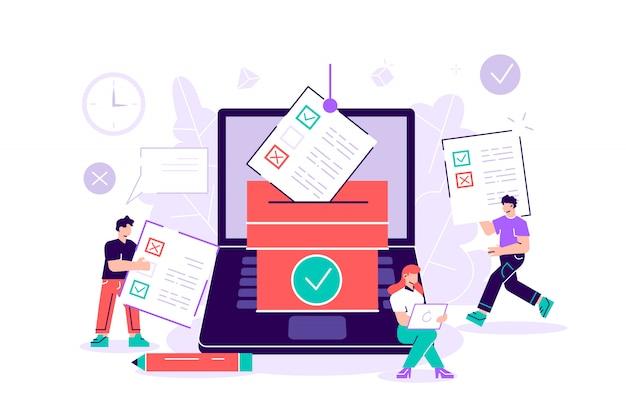 コンピューター画面、投票ボックス、有権者が意思決定を行うオンライン投票ミニ人々。選挙、政府の規則、公共プロジェクトのコンセプトのための現代の電子投票システム。フラットなイラスト