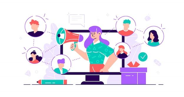 Реферальная концепция. маркетинговый сервис для общения с аудиторией для рекламы. продукты продвижения лиц. новый метод привлечения клиентов из уст в уста. плоская крошечная иллюстрация