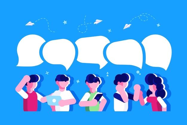 ビジネスマンは、ソーシャルネットワーク、ニュース、ソーシャルネットワーク、チャット、対話の吹き出しを議論します。