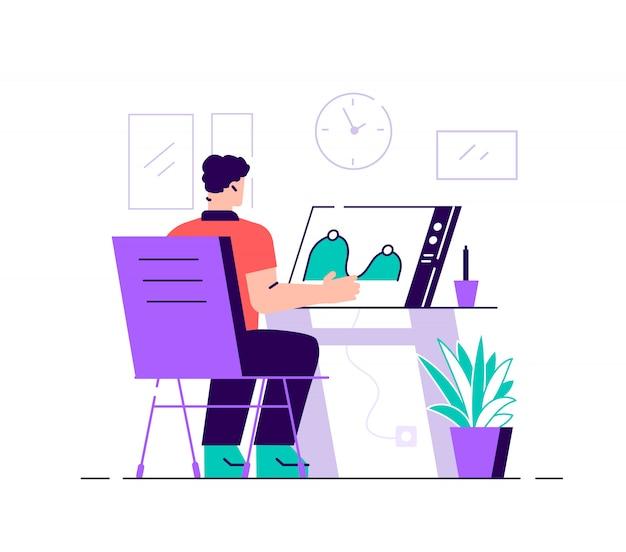 コンピューター画面のグラフィックデザイナーがビデオを作成およびアップロードします。モーショングラフィックデザイン、ビデオ制作サービス、モーションデザイナー作品コンセプト。明るく活気のあるバイオレットベクトル分離イラスト