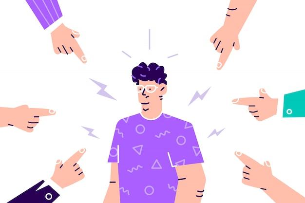Социальное неодобрение. грустная или подавленная молодая женщина, окруженная руками с указательными пальцами, указывающими на нее. одеяло, обвинение, общественное осуждение и концепция обвинения жертвы. плоский мультфильм иллюстрации