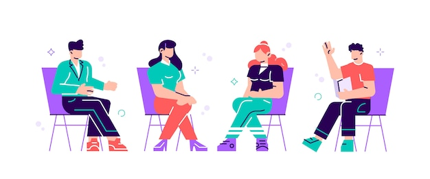 椅子に座って心理療法士や心理学者と話している男性と女性。グループ療法セッション、心理療法の会議または心理的援助。モダンなフラットスタイルのイラスト。