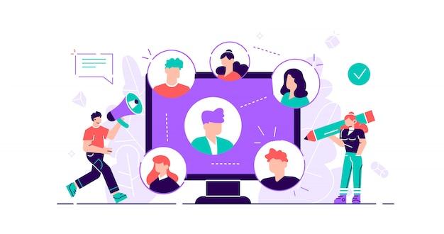 Реферальная концепция. маркетинговый сервис для общения с аудиторией потребителей. продукты продвижения лиц. новый метод привлечения клиентов из уст в уста. плоская крошечная иллюстрация