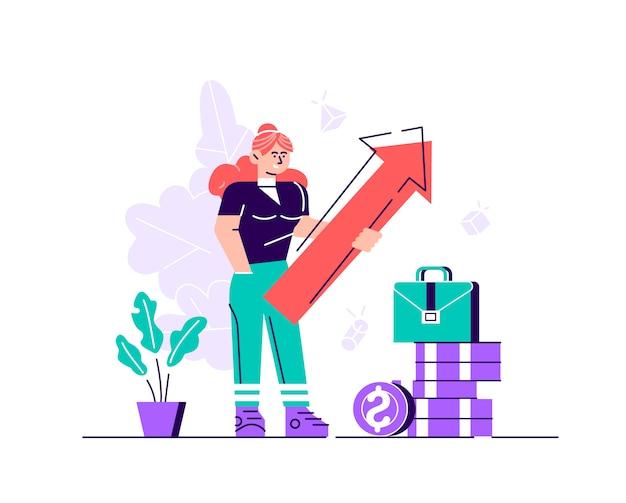 Бизнес женщина, держащая стрелка, указывающая вправо, указывающий успех. плоский стиль современный дизайн иллюстрация для веб-страницы, открытки, плакат, социальные медиа.