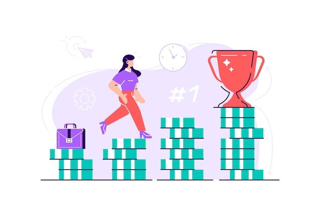Деловая женщина поднимается по лестнице от стопки монет к своей финансовой цели. концепция личных инвестиций и пенсионных накоплений. плоский стиль современный дизайн иллюстрация для веб-страницы, открытки