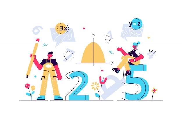 数学のイラスト。フラットミニ人教育コンセプト。幾何学図形の代数記号は、学校や大学で科学の学習に使用されていました。算術知識シンボルコレクションセット。