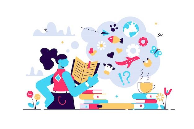 Чтение иллюстрации. плоские крошечные расширить кругозор человека концепции. книга, энциклопедия и другие источники информации изучают, исследуют или исследуют образ жизни для развития мудрости личности