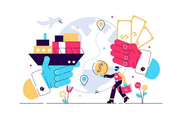 貿易のイラスト。平らな小さな成功グローバル金融取引人のコンセプト。抽象的な象徴的な国際経済の輸出市場の可視化と企業のパートナーシップ協力管理。
