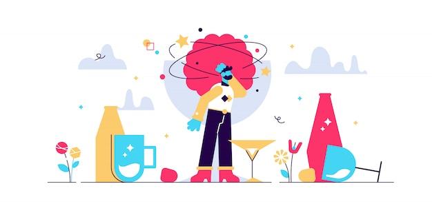 二日酔いのイラスト。平らな小さなアルコールの過剰摂取飲酒者の概念。酒と酒のパーティーの翌日、酔っ払い脳。頭痛、吐き気、めまい、精神の飲料中毒の問題