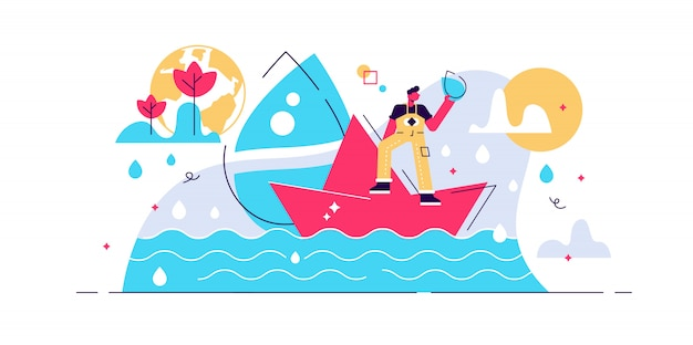 きれいな水フラット小さな人の概念図。惑星地球の生態環境と海の自然バランスシーン。汚染除去と飲料水資源保護イニシアチブ。