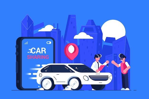 カーシェアリングサービスの広告。モバイル都市交通。トランスポートレンタル。