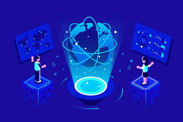 Глобальное общение. глобус связи дизайн сети. концепция социальной сети. люди, соединяющие