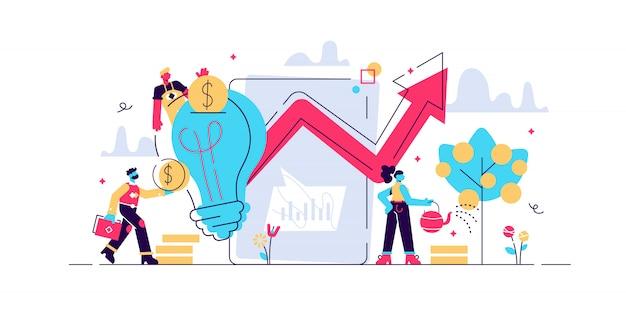 高い可能性を秘めたイノベーションに投資する小さなビジネスマン。ベンチャーキャピタル、ベンチャー投資、ベンチャーファイナンス、ビジネスエンジェルコンセプト。孤立したコンセプトクリエイティブイラスト。