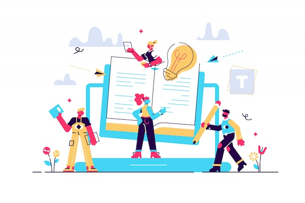 コンセプトブログ、教育、クリエイティブライティング、コンテンツ管理イラストニュース、コピーライティング、セミナー、チュートリアル