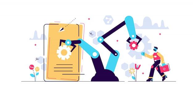 人材自動化のイラスト。小さな人の仕事のコンセプト。世紀の挑戦-労働力雇用の社会危機。デジタル時代のアルゴリズム人工知能支配。
