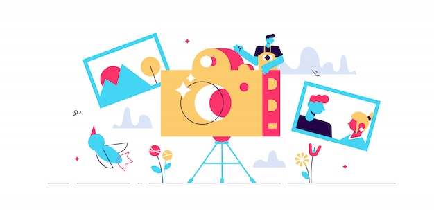 写真家の職業イラスト。小さなカメラ画像の人の概念。プロのデジタルフィルム機器技術。三脚での創造的な自然の画像キャプチャ。屋外撮影セッション。