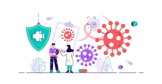 腫瘍学のイラスト。小さながん疾患研究者の概念。薬局の薬と薬で病気と抽象的な象徴的な戦い。放射線診断および病気治療。
