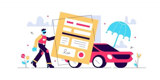 自動車保険のイラスト。合意と傘を持つ様式化されたモーター。事故、損傷、衝突から車両を保護する保護、保証、シールド記号。人身保護事業